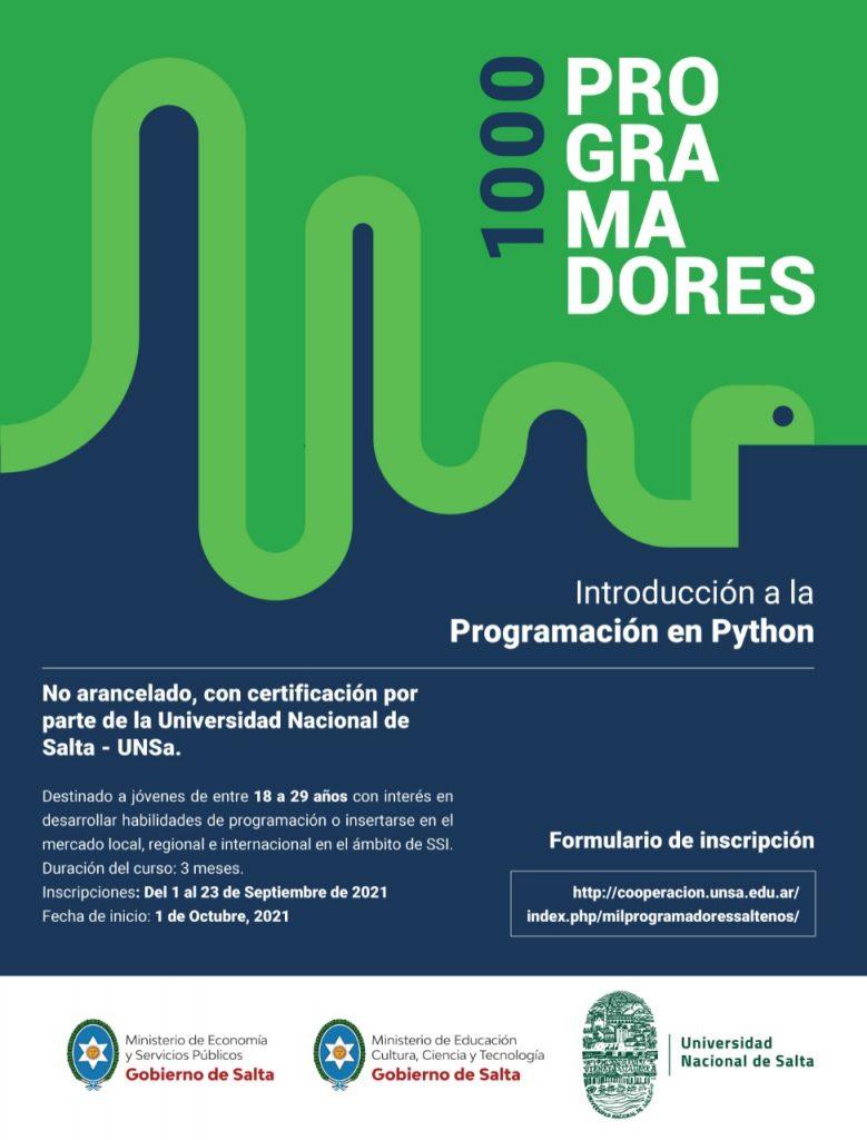 Gobierno y UNSa convocan a jóvenes a estudiar programación, un ámbito del conocimiento de rápida inserción laboral